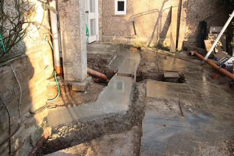 Foundations for new bay window